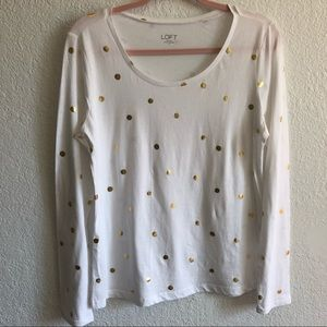 LOFT Long Sleeved White Tee with Gold Dots